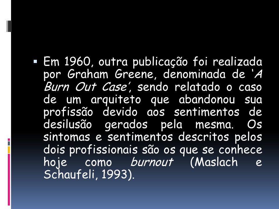 Em 1960, outra publicação foi realizada por Graham Greene, denominada de A Burn Out Case, sendo relatado o caso de um arquiteto que abandonou sua prof