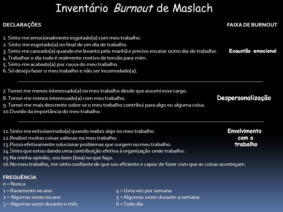 Inventário Burnout de Maslach DECLARAÇÕES FAIXA DE BURNOUT 1. Sinto-me emocionalmente esgotado(a) com meu trabalho. 2. Sinto-me esgotado(a) no final d