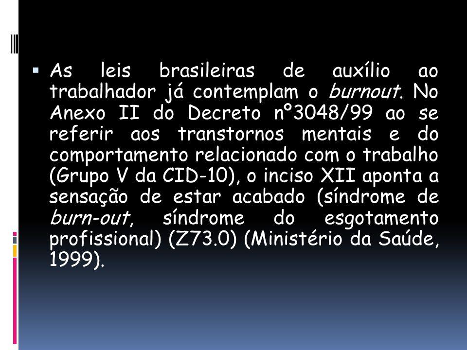 As leis brasileiras de auxílio ao trabalhador já contemplam o burnout. No Anexo II do Decreto nº3048/99 ao se referir aos transtornos mentais e do com