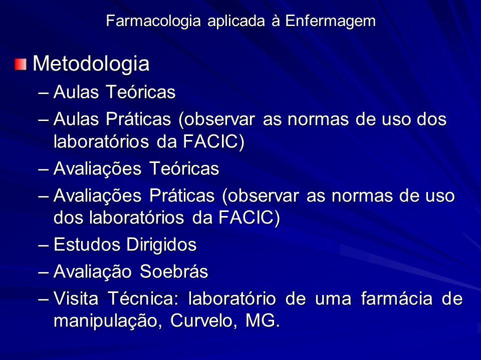 Farmacologia aplicada à Enfermagem Metodologia –Aulas Teóricas –Aulas Práticas (observar as normas de uso dos laboratórios da FACIC) –Avaliações Teóri