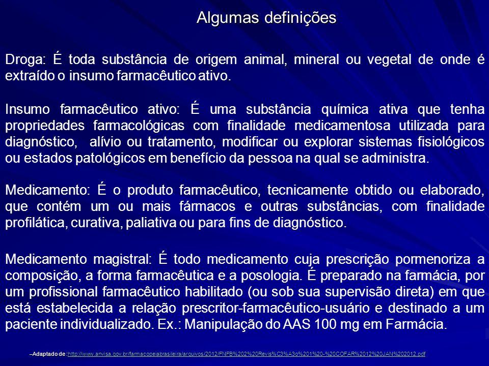 Droga: É toda substância de origem animal, mineral ou vegetal de onde é extraído o insumo farmacêutico ativo. Insumo farmacêutico ativo: É uma substân