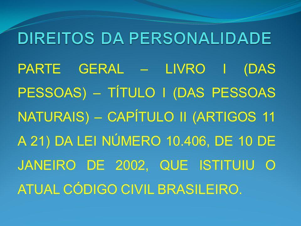 PARTE GERAL – LIVRO I (DAS PESSOAS) – TÍTULO I (DAS PESSOAS NATURAIS) – CAPÍTULO II (ARTIGOS 11 A 21) DA LEI NÚMERO 10.406, DE 10 DE JANEIRO DE 2002,
