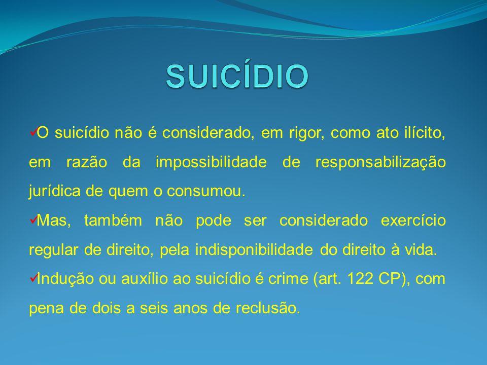 O suicídio não é considerado, em rigor, como ato ilícito, em razão da impossibilidade de responsabilização jurídica de quem o consumou. Mas, também nã