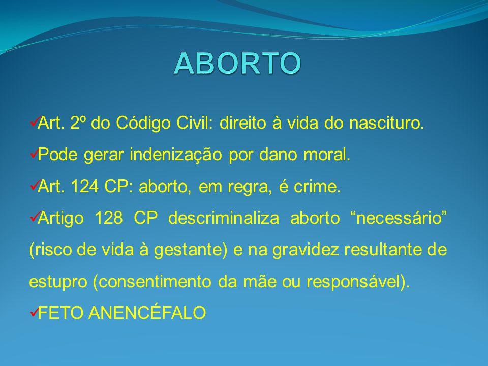 Art. 2º do Código Civil: direito à vida do nascituro. Pode gerar indenização por dano moral. Art. 124 CP: aborto, em regra, é crime. Artigo 128 CP des