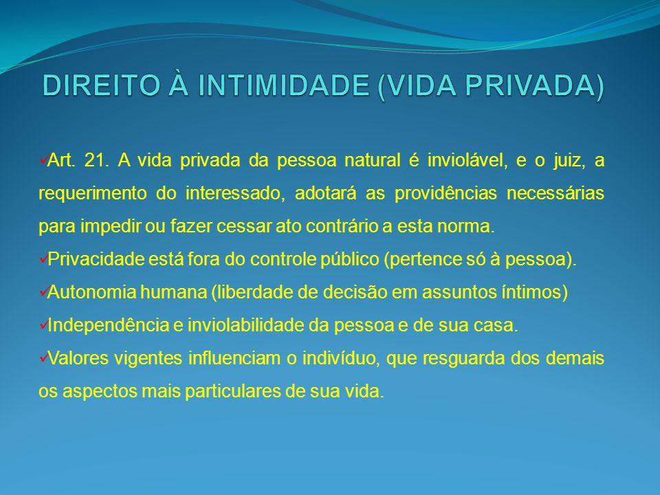Art. 21. A vida privada da pessoa natural é inviolável, e o juiz, a requerimento do interessado, adotará as providências necessárias para impedir ou f