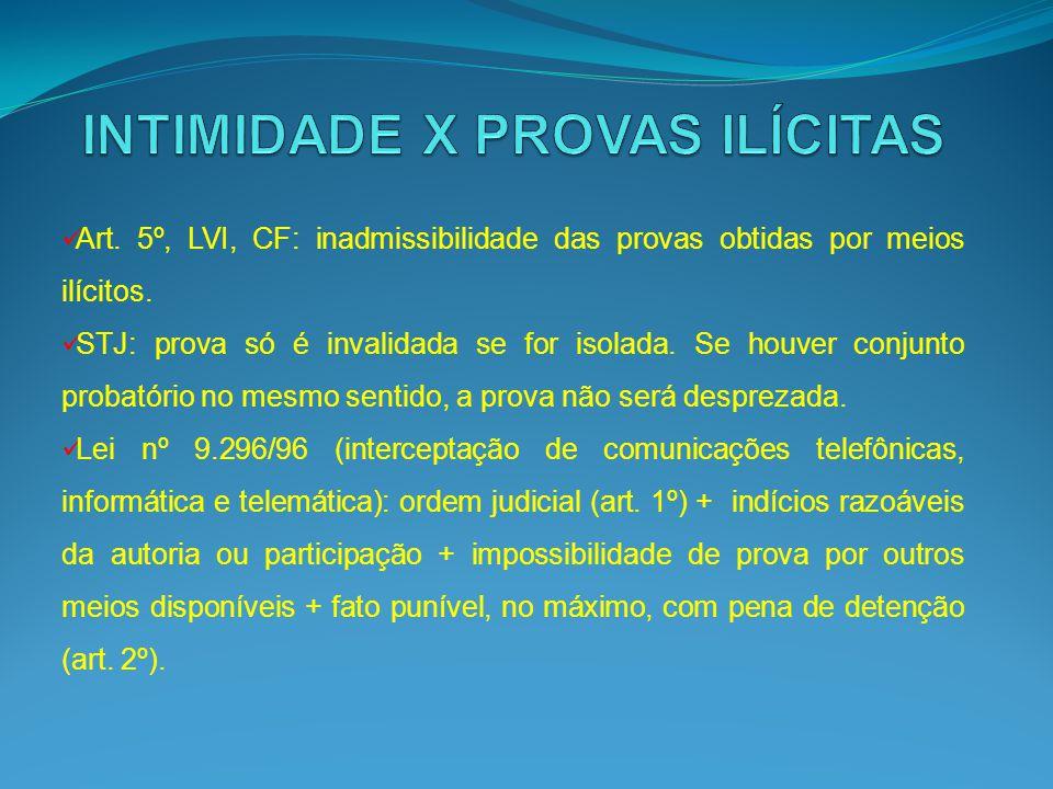 Art. 5º, LVI, CF: inadmissibilidade das provas obtidas por meios ilícitos. STJ: prova só é invalidada se for isolada. Se houver conjunto probatório no