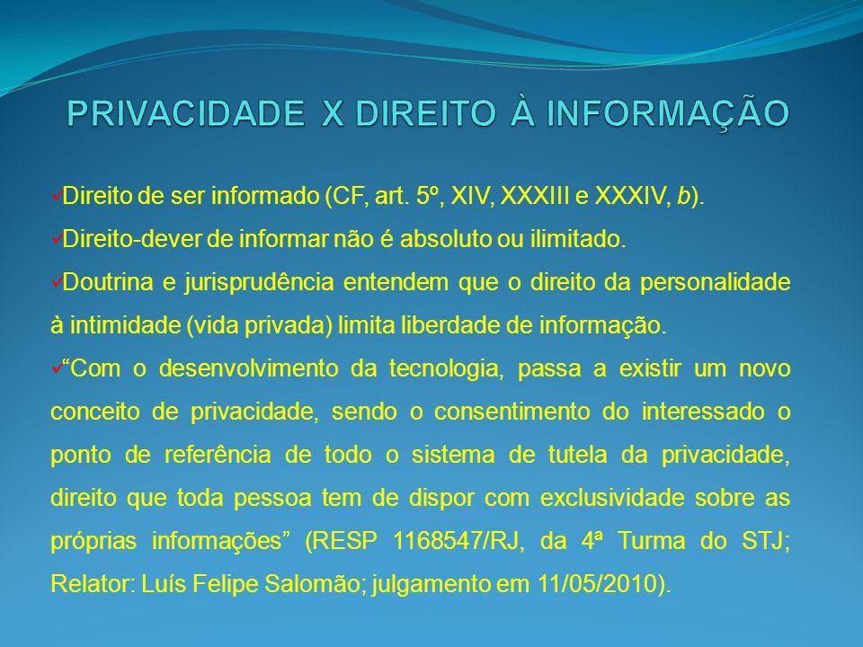 Direito de ser informado (CF, art. 5º, XIV, XXXIII e XXXIV, b). Direito-dever de informar não é absoluto ou ilimitado. Doutrina e jurisprudência enten