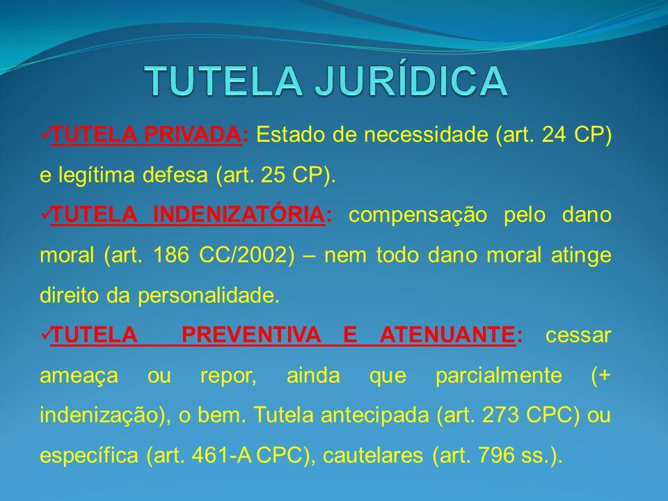TUTELA PRIVADA: Estado de necessidade (art. 24 CP) e legítima defesa (art. 25 CP). TUTELA INDENIZATÓRIA: compensação pelo dano moral (art. 186 CC/2002