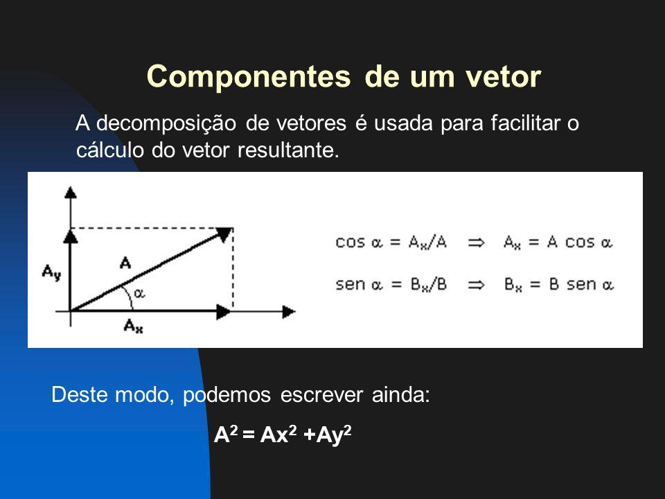 Componentes de um vetor A decomposição de vetores é usada para facilitar o cálculo do vetor resultante.