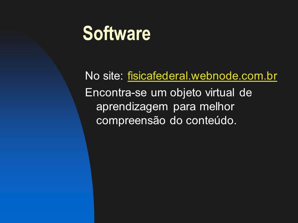 Software No site: fisicafederal.webnode.com.br Encontra-se um objeto virtual de aprendizagem para melhor compreensão do conteúdo.