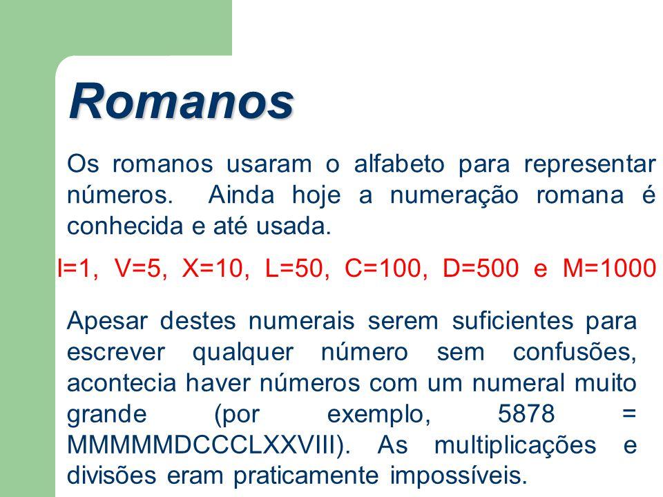 Romanos Os romanos usaram o alfabeto para representar números. Ainda hoje a numeração romana é conhecida e até usada. I=1, V=5, X=10, L=50, C=100, D=5