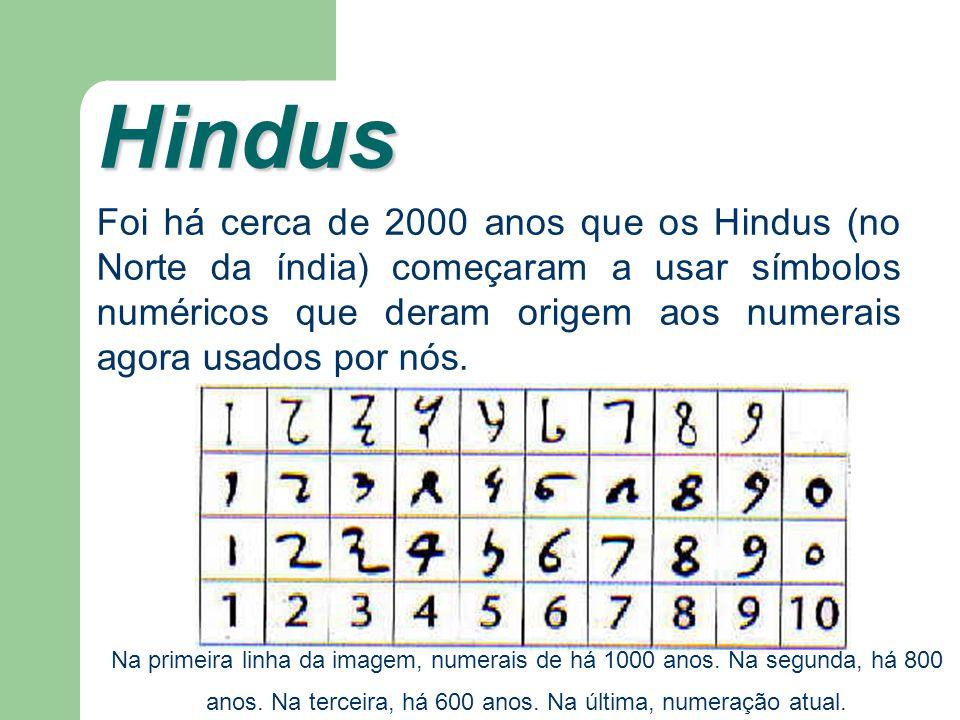 Hindus Foi há cerca de 2000 anos que os Hindus (no Norte da índia) começaram a usar símbolos numéricos que deram origem aos numerais agora usados por