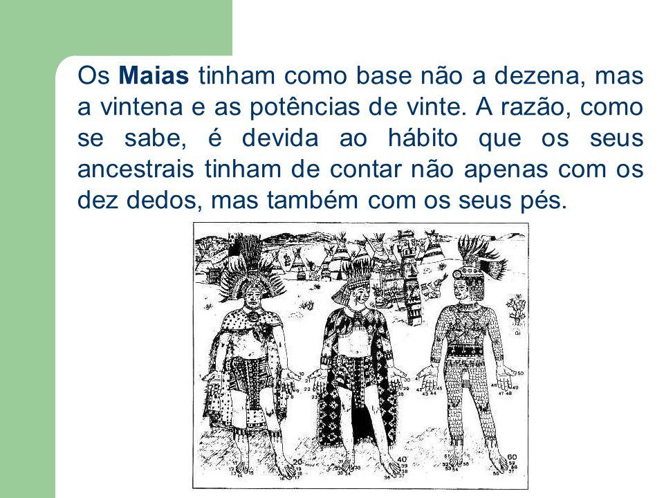 Os Maias tinham como base não a dezena, mas a vintena e as potências de vinte. A razão, como se sabe, é devida ao hábito que os seus ancestrais tinham