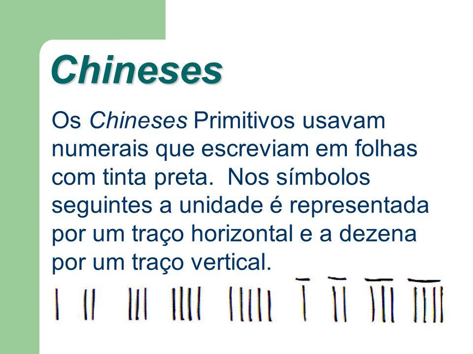 Chineses Os Chineses Primitivos usavam numerais que escreviam em folhas com tinta preta. Nos símbolos seguintes a unidade é representada por um traço