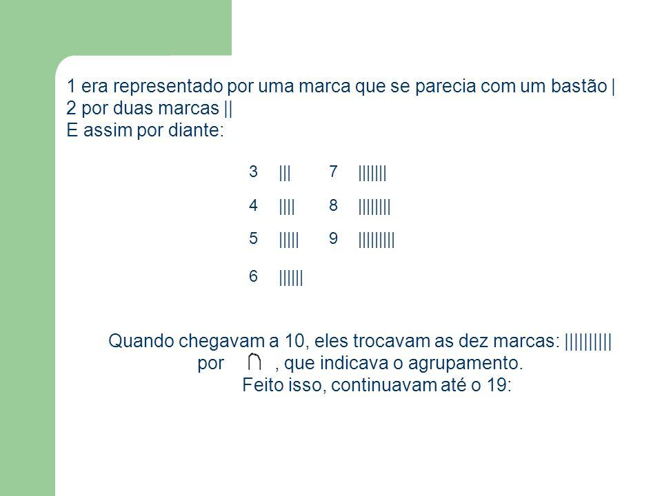 1 era representado por uma marca que se parecia com um bastão | 2 por duas marcas || E assim por diante: 3|||7||||||| 4||||8|||||||| 5|||||9|||||||||