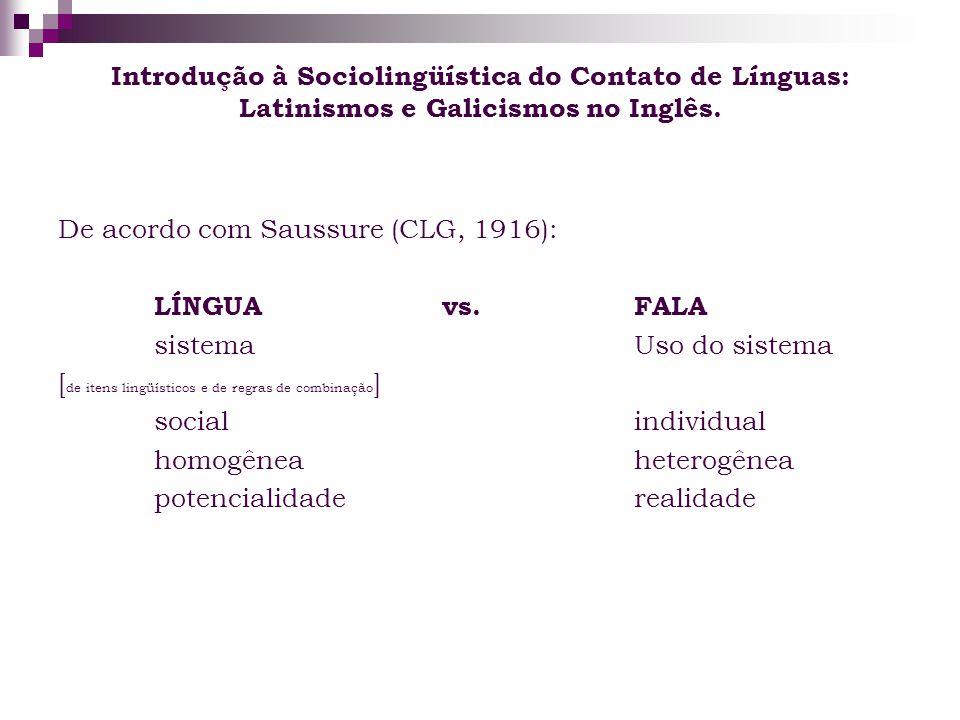 Introdução à Sociolingüística do Contato de Línguas: Latinismos e Galicismos no Inglês. De acordo com Saussure (CLG, 1916): LÍNGUAvs. FALA sistemaUso