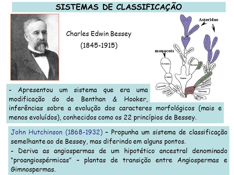 Charles Edwin Bessey (1845-1915) - Apresentou um sistema que era uma modificação do de Benthan & Hooker, arranjou as plantas e fez John Hutchinson (18