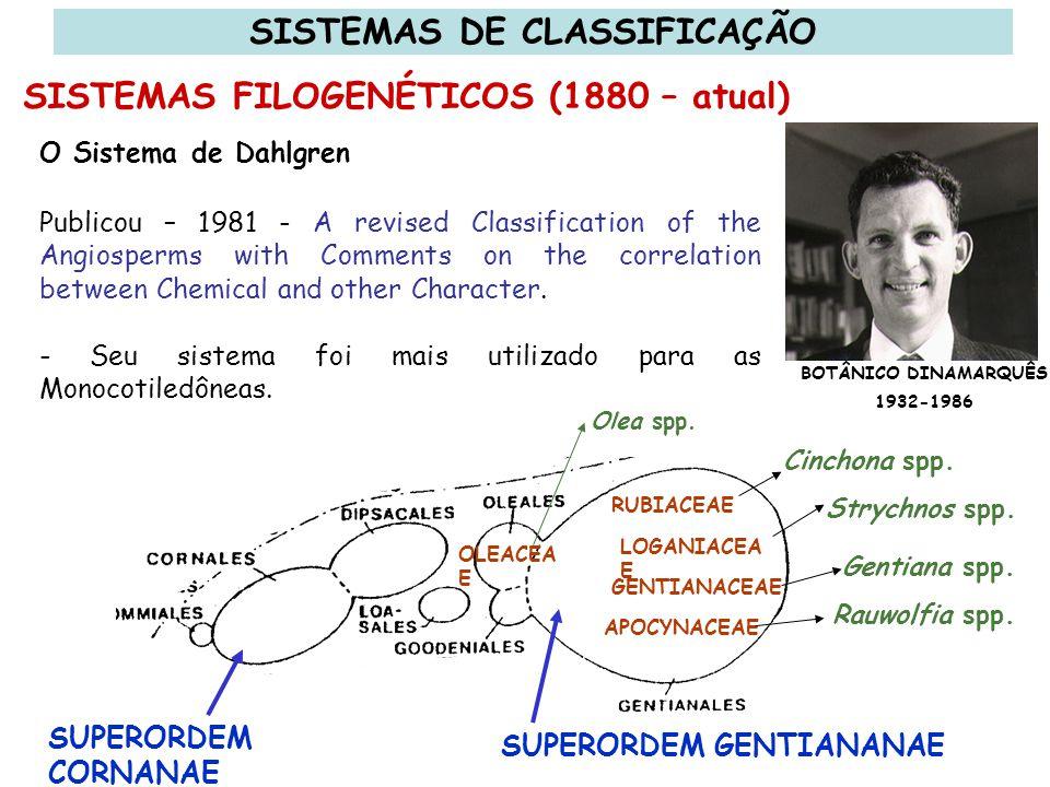 Os Sistemas de Cronquist, Dahlgren e de outros autores da mesma época são enciclopédicos quanto à base de dados usada em sua estruturação.