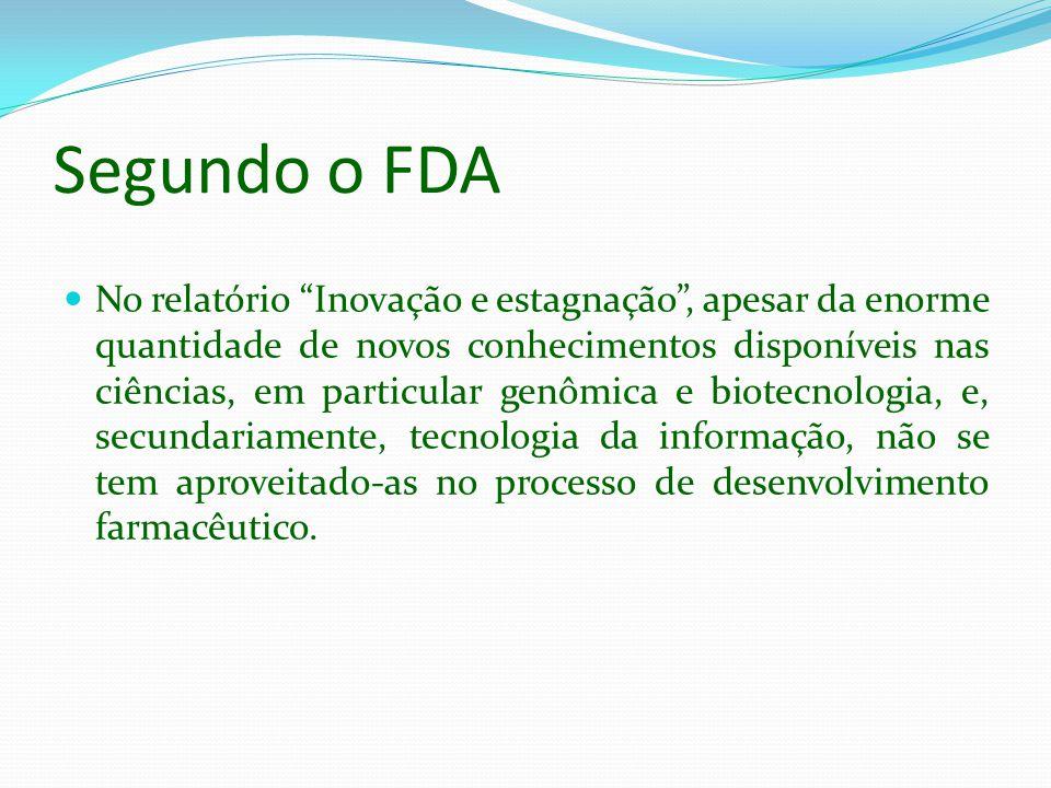 Segundo o FDA No relatório Inovação e estagnação, apesar da enorme quantidade de novos conhecimentos disponíveis nas ciências, em particular genômica
