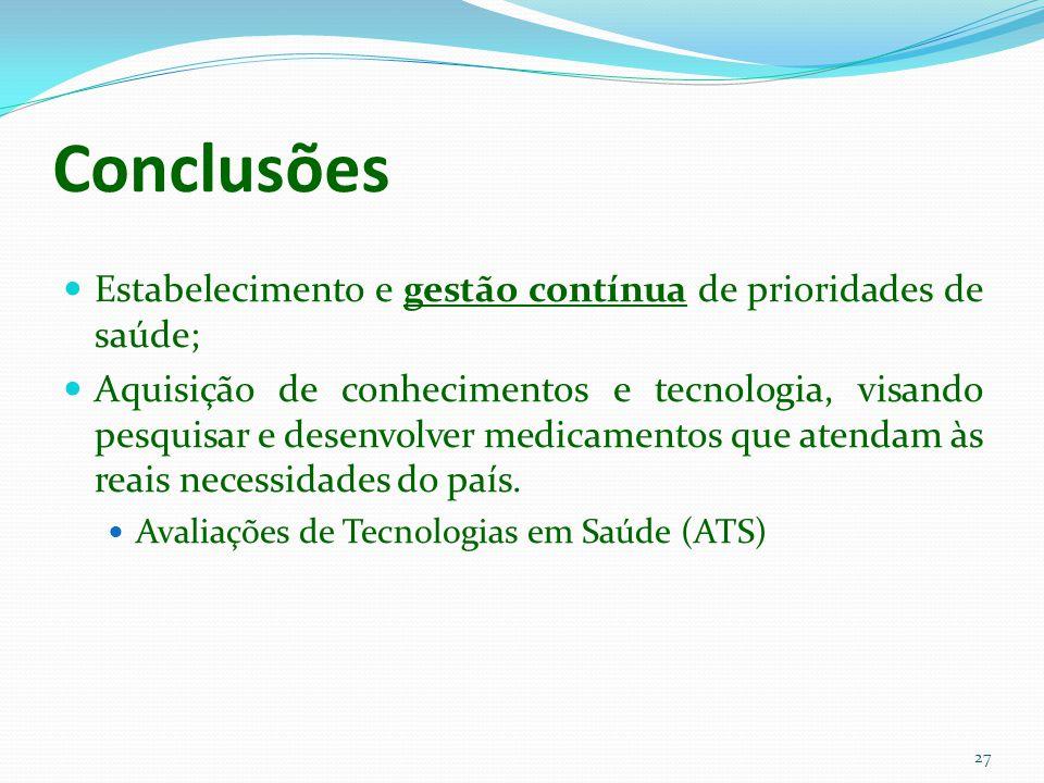 Conclusões Estabelecimento e gestão contínua de prioridades de saúde; Aquisição de conhecimentos e tecnologia, visando pesquisar e desenvolver medicam