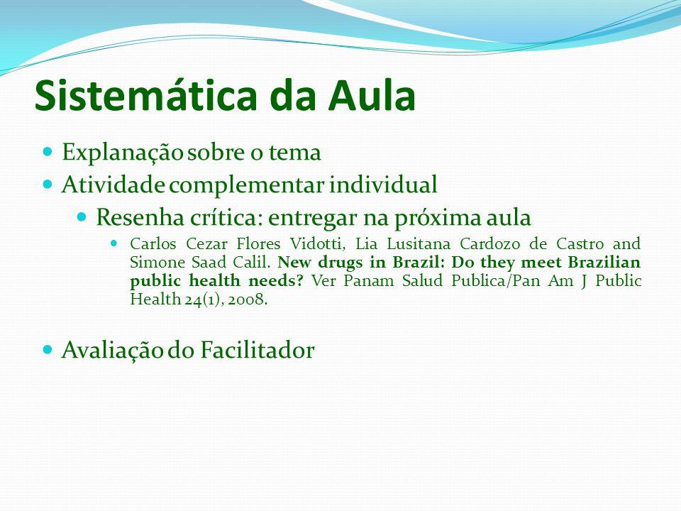 Sistemática da Aula Explanação sobre o tema Atividade complementar individual Resenha crítica: entregar na próxima aula Carlos Cezar Flores Vidotti, L