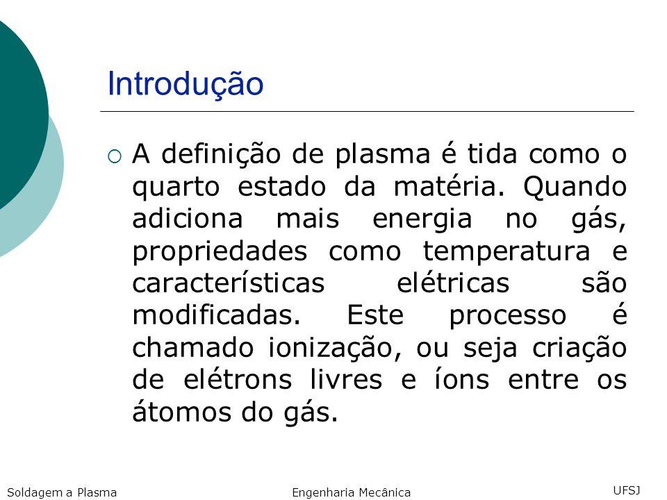 Introdução Quando isso acontece, o gás torna- se um plasma, sendo eletricamente condutor pelo fato de os elétrons livres transmitirem a corrente elétrica.