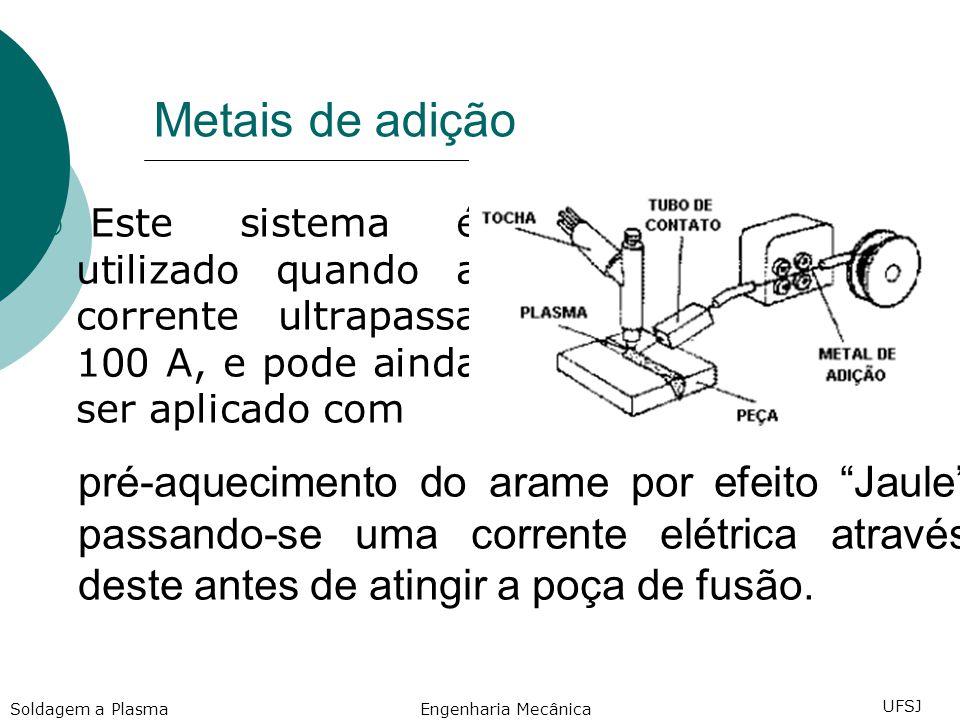 Metais de adição Este sistema é utilizado quando a corrente ultrapassa 100 A, e pode ainda ser aplicado com pré-aquecimento do arame por efeito Jaule passando-se uma corrente elétrica através deste antes de atingir a poça de fusão.