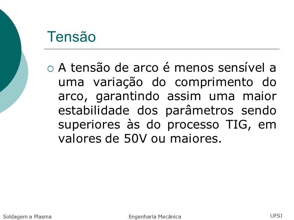 Tensão A tensão de arco é menos sensível a uma variação do comprimento do arco, garantindo assim uma maior estabilidade dos parâmetros sendo superiores às do processo TIG, em valores de 50V ou maiores.