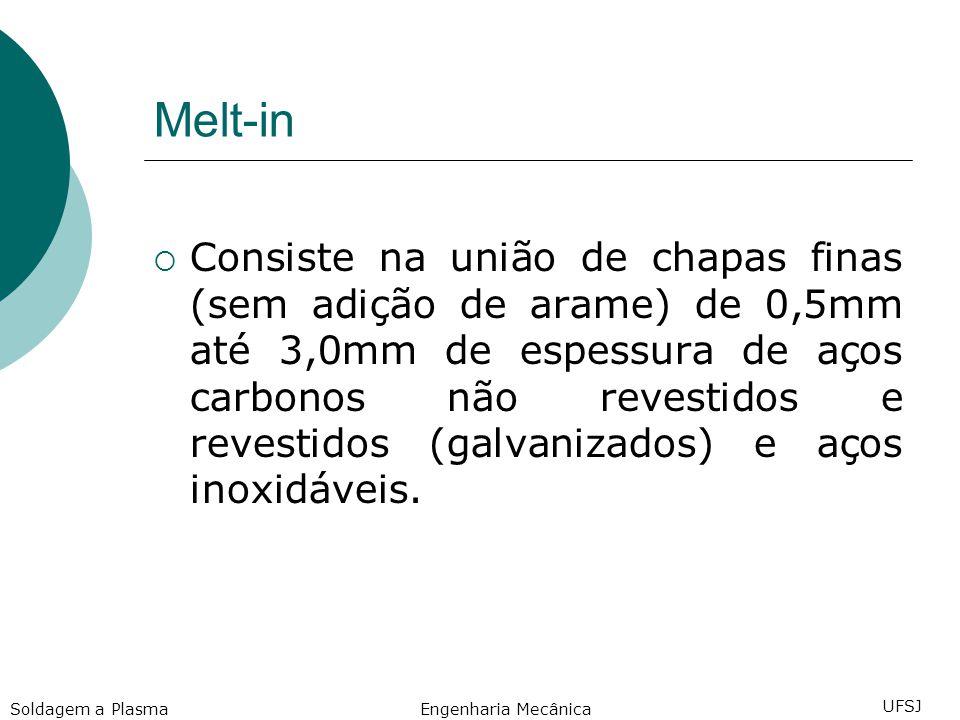 Melt-in Consiste na união de chapas finas (sem adição de arame) de 0,5mm até 3,0mm de espessura de aços carbonos não revestidos e revestidos (galvanizados) e aços inoxidáveis.