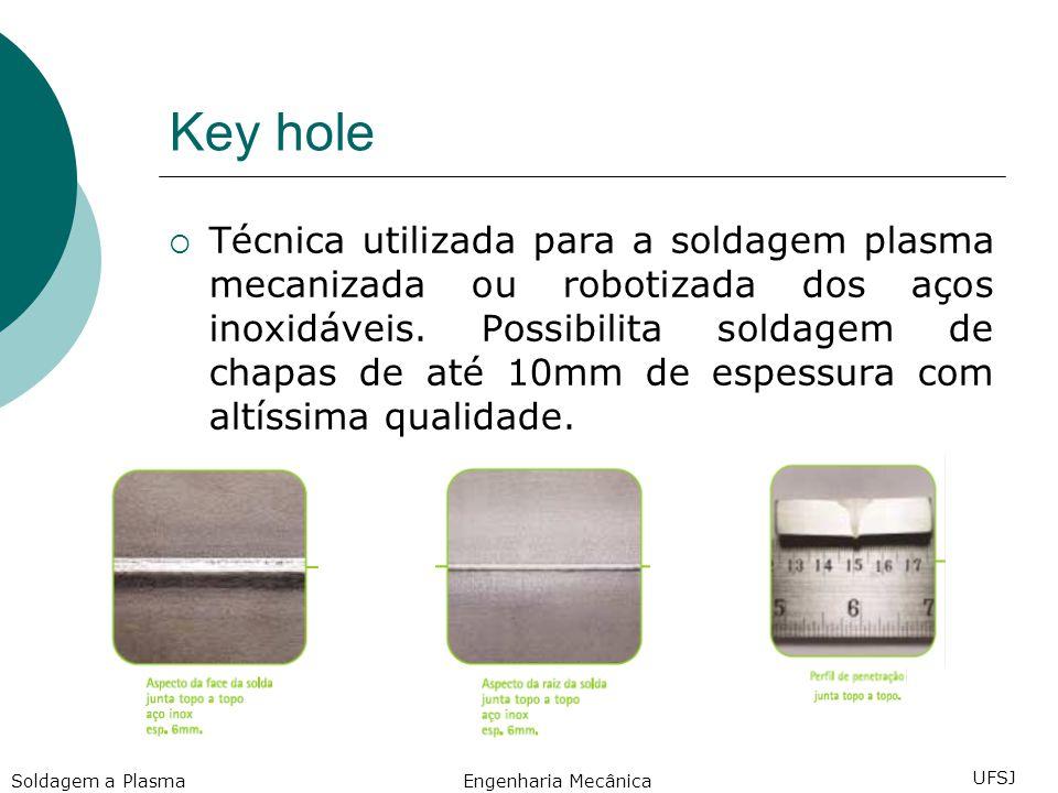Key hole Técnica utilizada para a soldagem plasma mecanizada ou robotizada dos aços inoxidáveis.