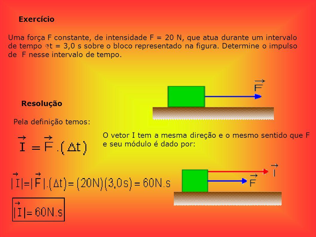 Exemplo O impulso de entre os instantes t1 = 1 s e t2 = 4 s, tem módulo dado pela área da figura sombreada no gráfico Impulso de força variável No caso particular em que a direção da força é constante, é possível mostrar que o impulso é dado pela área da figura sombreada (Fig.2) no gráfico de F em função de t.
