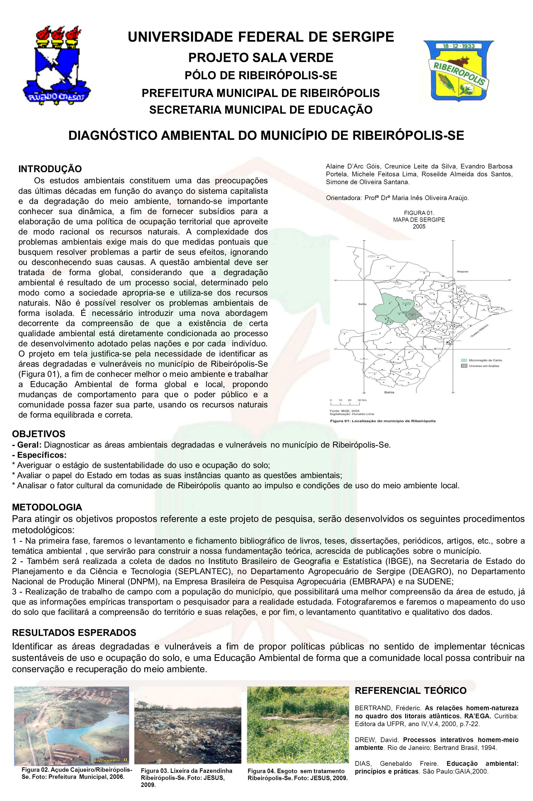 UNIVERSIDADE FEDERAL DE SERGIPE PROJETO SALA VERDE PÓLO DE RIBEIRÓPOLIS-SE PREFEITURA MUNICIPAL DE RIBEIRÓPOLIS SECRETARIA MUNICIPAL DE EDUCAÇÃO DIAGNÓSTICO AMBIENTAL DO MUNICÍPIO DE RIBEIRÓPOLIS-SE OBJETIVOS - Geral: Diagnosticar as áreas ambientais degradadas e vulneráveis no município de Ribeirópolis-Se.