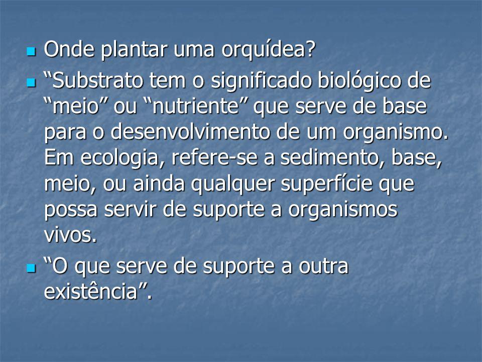 Onde plantar uma orquídea? Onde plantar uma orquídea? Substrato tem o significado biológico de meio ou nutriente que serve de base para o desenvolvime