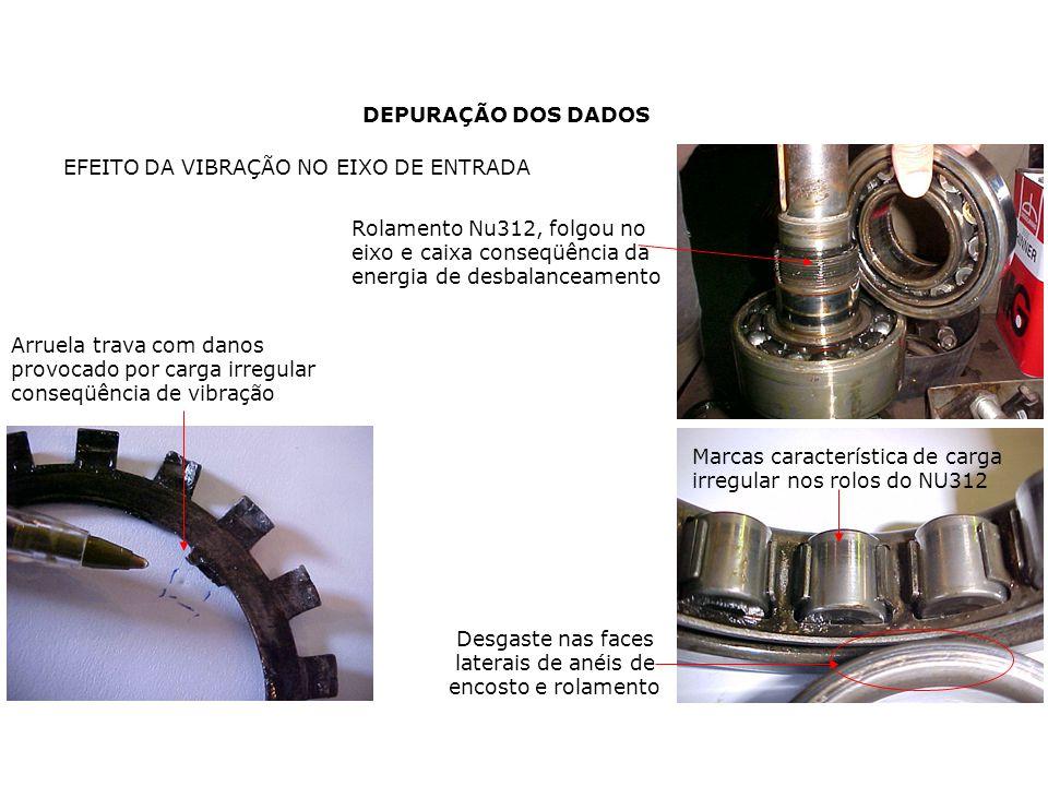 DEPURAÇÃO DOS DADOS Arruela trava com danos provocado por carga irregular conseqüência de vibração Rolamento Nu312, folgou no eixo e caixa conseqüênci