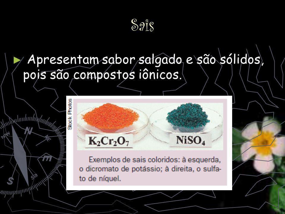Sais Apresentam sabor salgado e são sólidos, pois são compostos iônicos.
