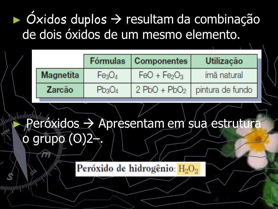 Óxidos duplos Óxidos duplos resultam da combinação de dois óxidos de um mesmo elemento.
