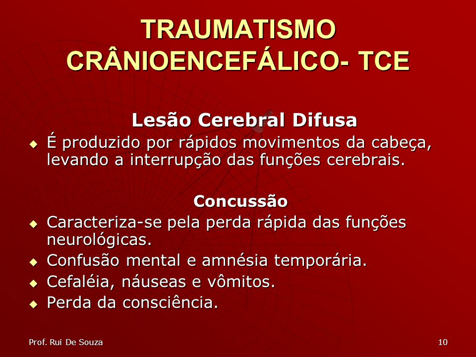 10 TRAUMATISMO CRÂNIOENCEFÁLICO- TCE Lesão Cerebral Difusa Lesão Cerebral Difusa É produzido por rápidos movimentos da cabeça, levando a interrupção d