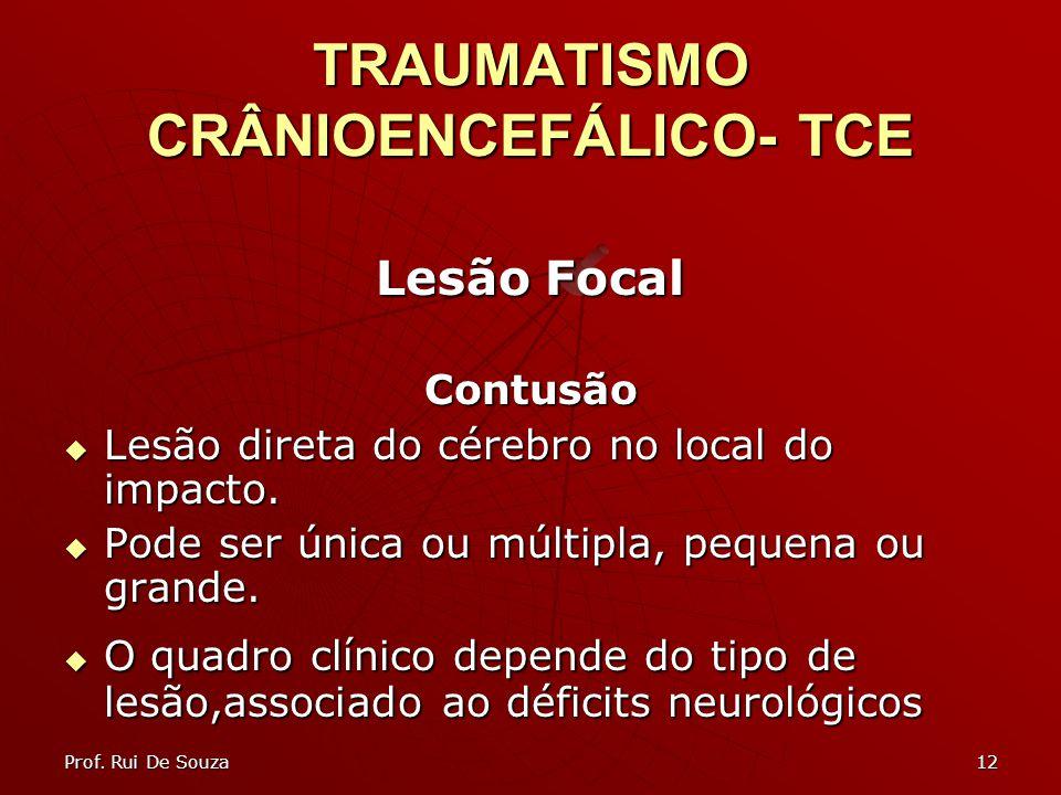 12 TRAUMATISMO CRÂNIOENCEFÁLICO- TCE Lesão Focal Contusão Lesão direta do cérebro no local do impacto.