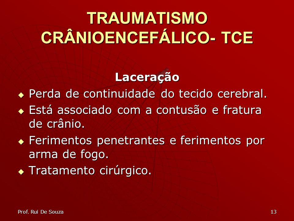 13 TRAUMATISMO CRÂNIOENCEFÁLICO- TCE Laceração Perda de continuidade do tecido cerebral. Perda de continuidade do tecido cerebral. Está associado com