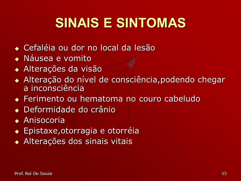 15 SINAIS E SINTOMAS Cefaléia ou dor no local da lesão Cefaléia ou dor no local da lesão Náusea e vomito Náusea e vomito Alterações da visão Alteraçõe