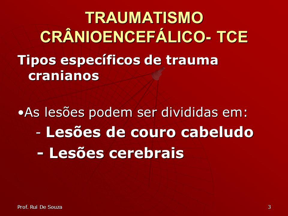 3 TRAUMATISMO CRÂNIOENCEFÁLICO- TCE Tipos específicos de trauma cranianos As lesões podem ser divididas em: - Lesões de couro cabeludo - Lesões de couro cabeludo - Lesões cerebrais - Lesões cerebrais Prof.