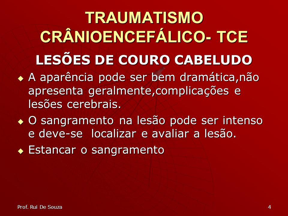 4 TRAUMATISMO CRÂNIOENCEFÁLICO- TCE LESÕES DE COURO CABELUDO A aparência pode ser bem dramática,não apresenta geralmente,complicações e lesões cerebra