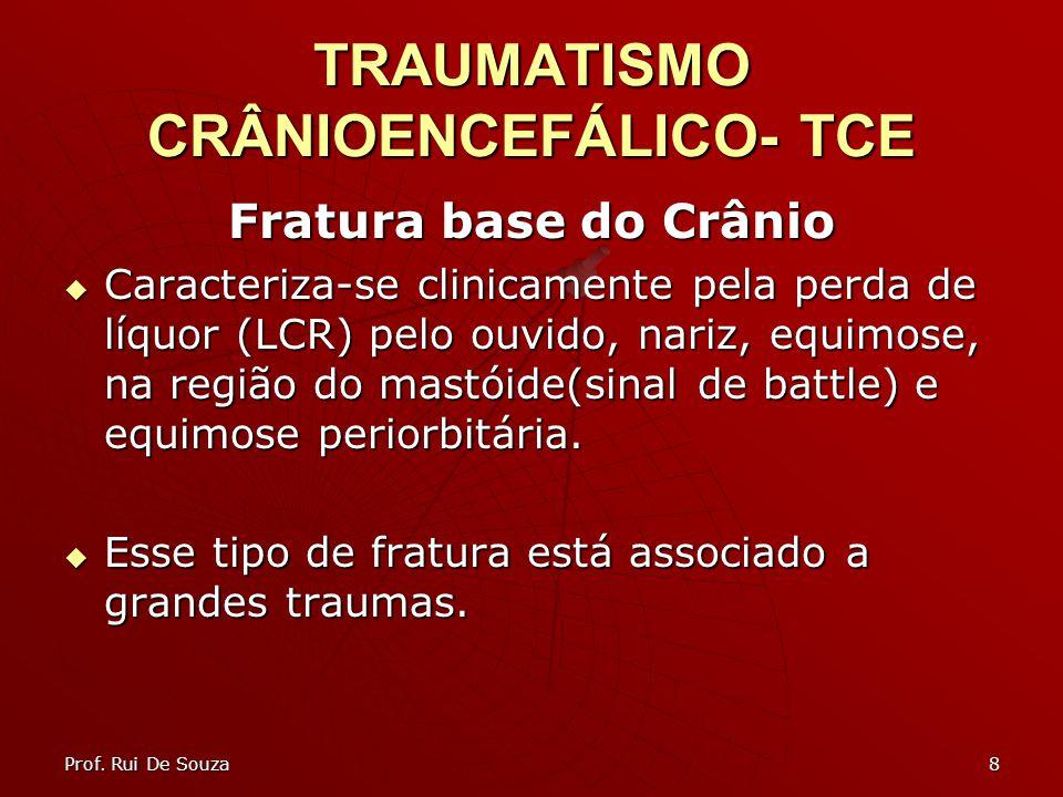 8 TRAUMATISMO CRÂNIOENCEFÁLICO- TCE Fratura base do Crânio Caracteriza-se clinicamente pela perda de líquor (LCR) pelo ouvido, nariz, equimose, na região do mastóide(sinal de battle) e equimose periorbitária.