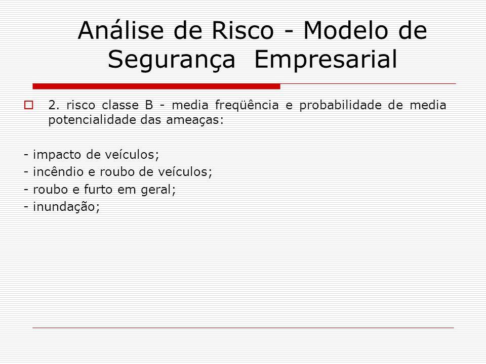 2. risco classe B - media freqüência e probabilidade de media potencialidade das ameaças: - impacto de veículos; - incêndio e roubo de veículos; - rou