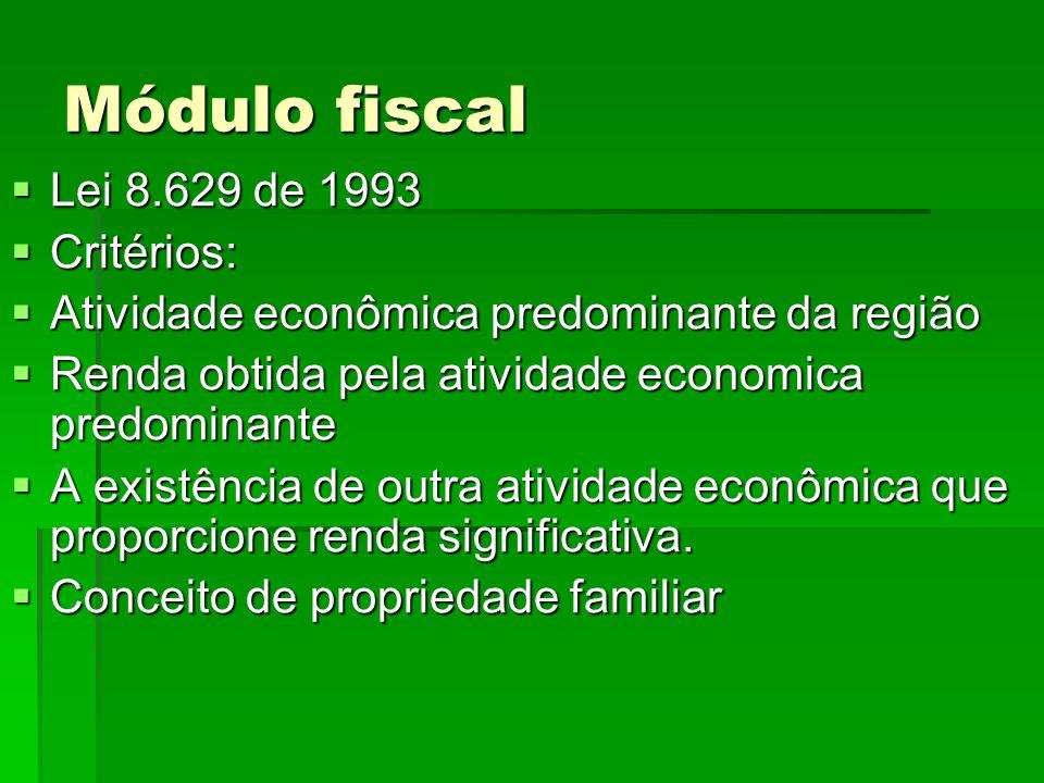 Módulo fiscal Lei 8.629 de 1993 Lei 8.629 de 1993 Critérios: Critérios: Atividade econômica predominante da região Atividade econômica predominante da