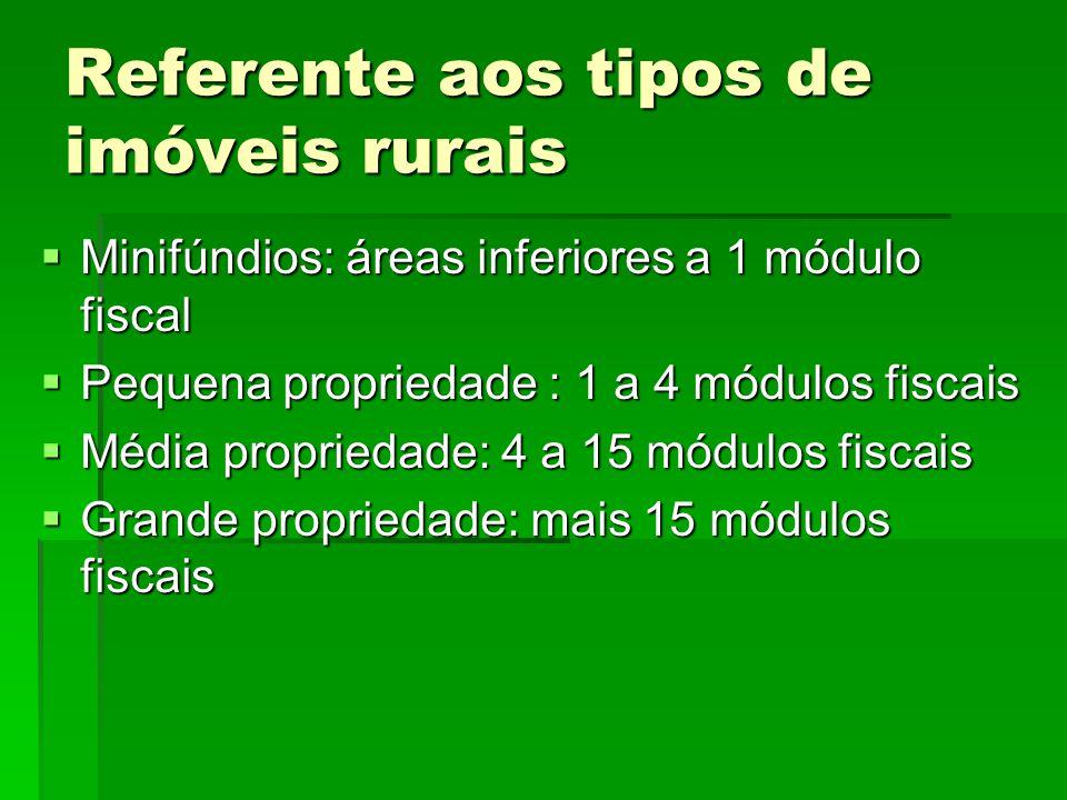 Referente aos tipos de imóveis rurais Minifúndios: áreas inferiores a 1 módulo fiscal Minifúndios: áreas inferiores a 1 módulo fiscal Pequena propried