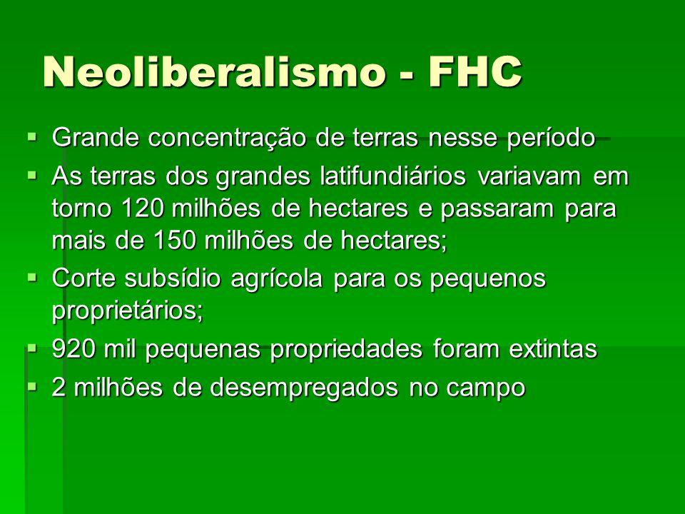 Neoliberalismo - FHC Grande concentração de terras nesse período Grande concentração de terras nesse período As terras dos grandes latifundiários vari