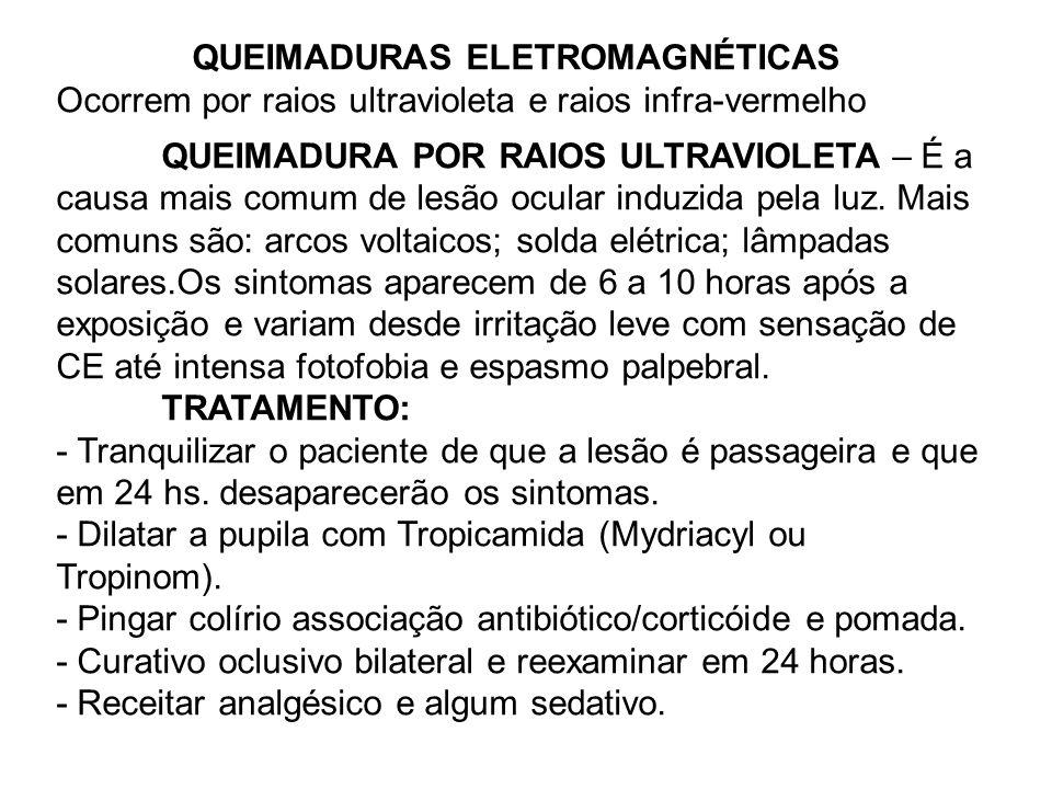 QUEIMADURAS ELETROMAGNÉTICAS Ocorrem por raios ultravioleta e raios infra-vermelho QUEIMADURA POR RAIOS ULTRAVIOLETA – É a causa mais comum de lesão o