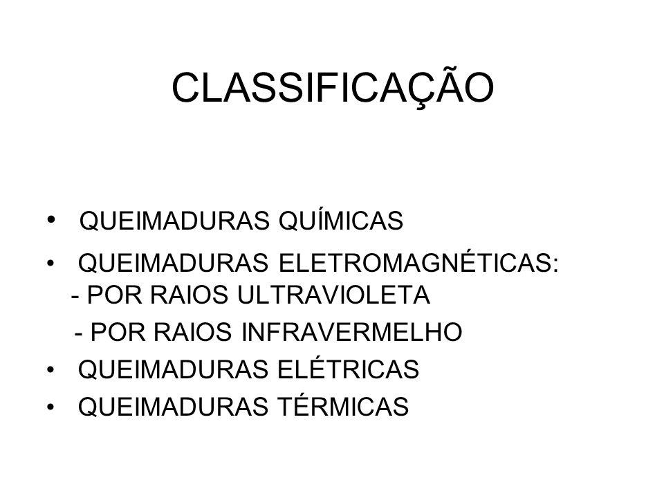 CLASSIFICAÇÃO QUEIMADURAS QUÍMICAS QUEIMADURAS ELETROMAGNÉTICAS: - POR RAIOS ULTRAVIOLETA - POR RAIOS INFRAVERMELHO QUEIMADURAS ELÉTRICAS QUEIMADURAS