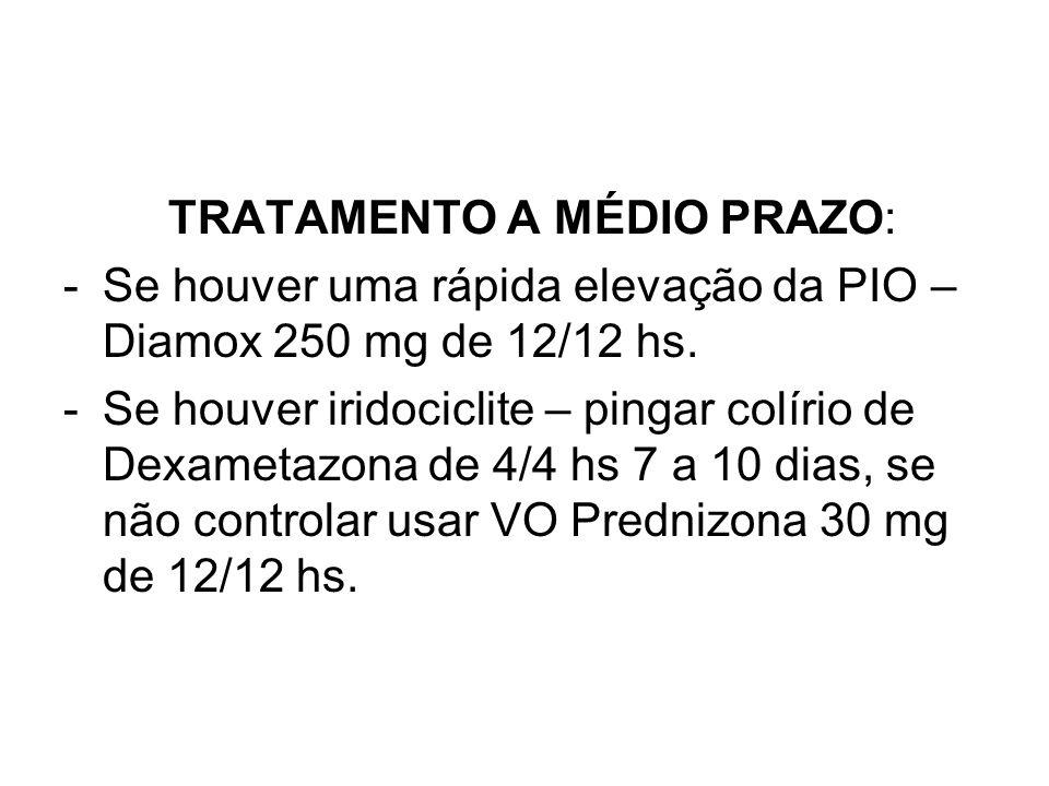 TRATAMENTO A MÉDIO PRAZO: -Se houver uma rápida elevação da PIO – Diamox 250 mg de 12/12 hs. -Se houver iridociclite – pingar colírio de Dexametazona